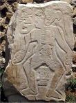 Lápida 55, uno de los relieves conocidos como 'danzantes', Monte Albán, Oaxaca