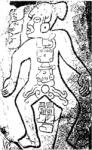 Dibujo de la lápida 55, uno de los relieves conocidos como 'danzantes', Monte Albán, Oaxaca