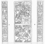 Dibujo de Javier Urcid de unas Tablillas con escritura zapoteca de Oaxaca,Galería del templo de los Danzantes, Monte Albán, Oaxaca, México