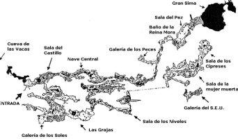 Mapa de la Cueva de la Pileta